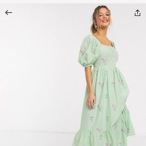 ASOS midi dress with lace up back size 8